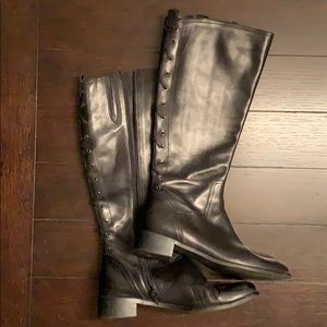 Italian leather black riding boots